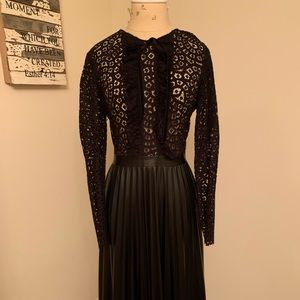Chic Zara black lace and faux leather dress.